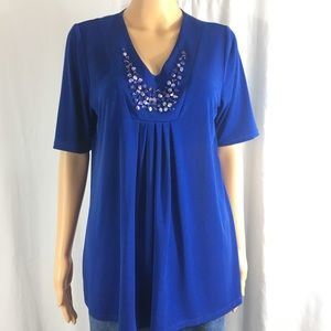 Susan Graver Liquid Knit Blue Embellished Blouse
